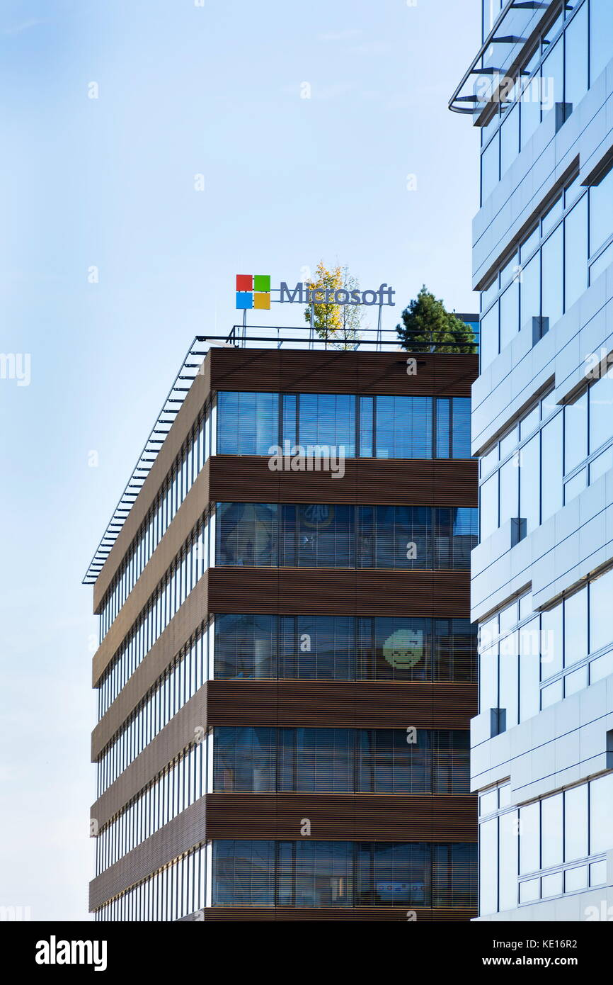 Building 92 microsoft store - Prague Czech Republic October 14 Microsoft Company Logo On Headquarters Building On October