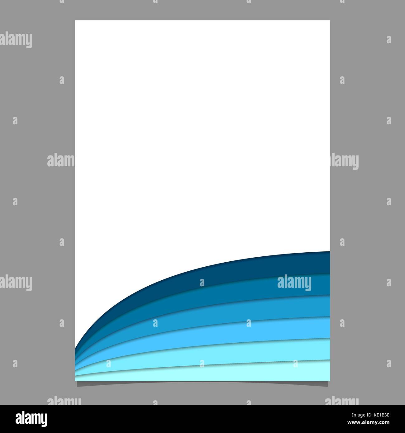 Blank Brochure Template From Curved Stripes In Blue Tones Vector - Blank brochure template