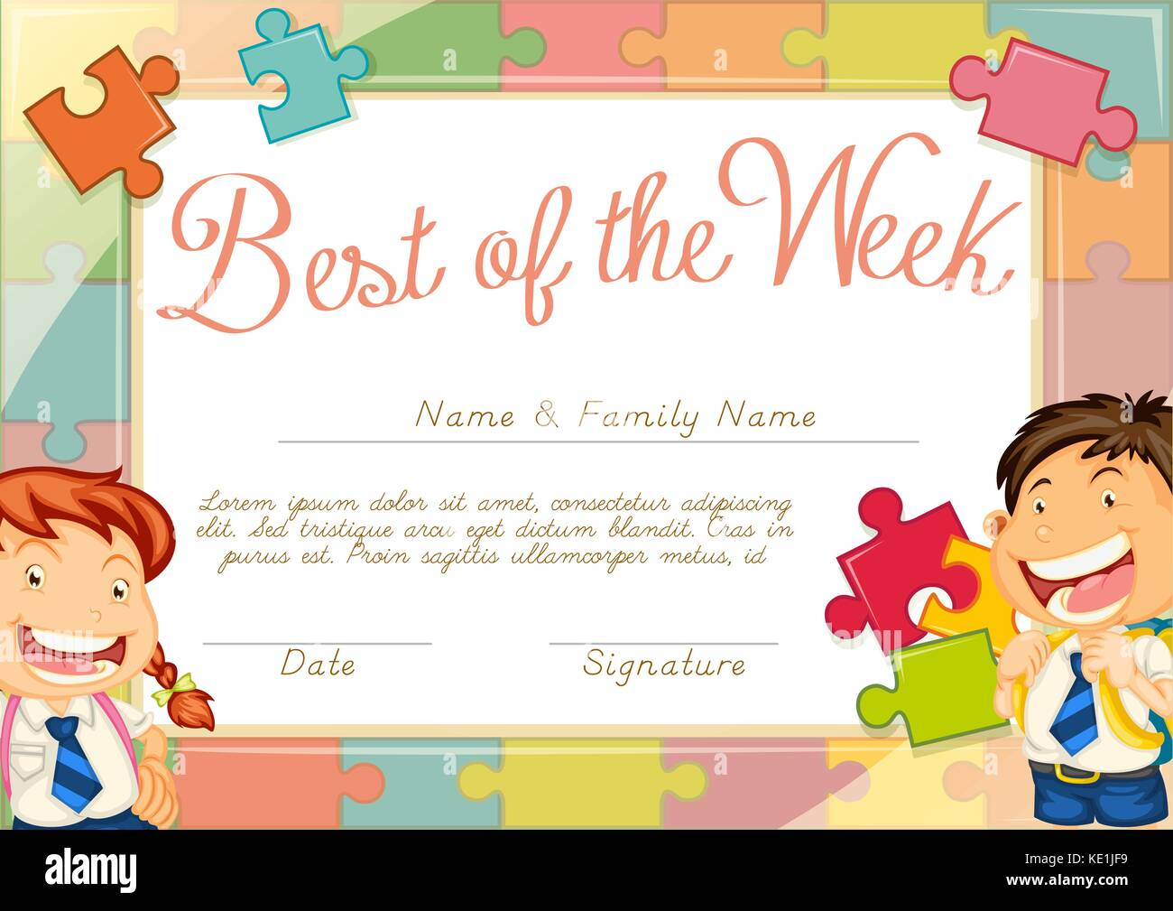Certificate Template With Children Background Illustration Stock