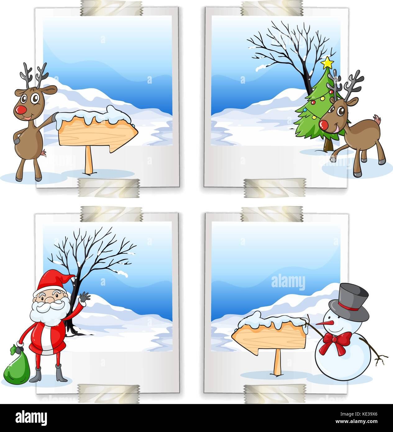 Four picture frames with christmas theme illustration Stock Vector ...