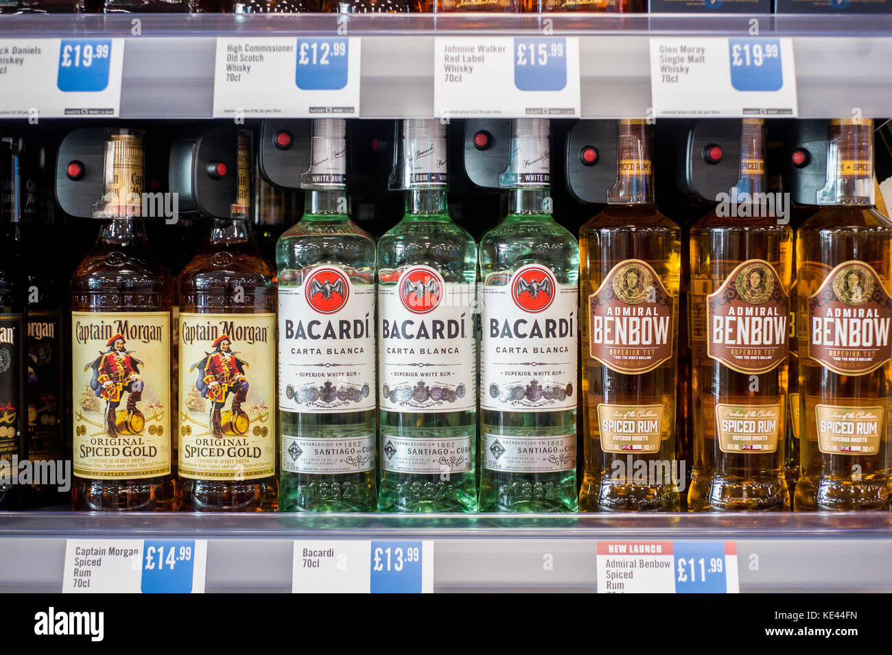 Bottles Of Spirits In A UK Supermarket