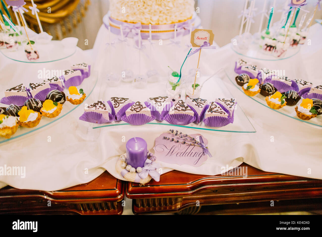 Wedding Dessert Bar Close Up View Of The Sweet Cakes On The Table