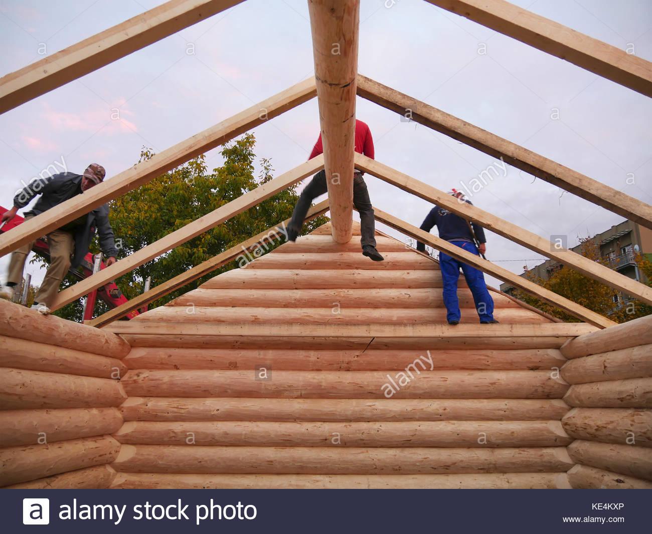 Log cabin interior stock photos log cabin interior stock for Log cabin roof construction