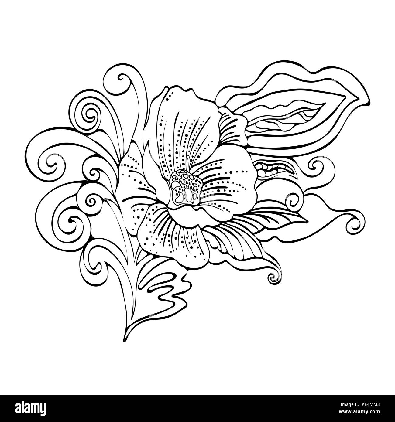 Abstract flower cartoon vector black and white contour hand drawn abstract flower cartoon vector black and white contour hand drawn outline monochrome illustration coloring book sketch bud petals stem leaves mightylinksfo