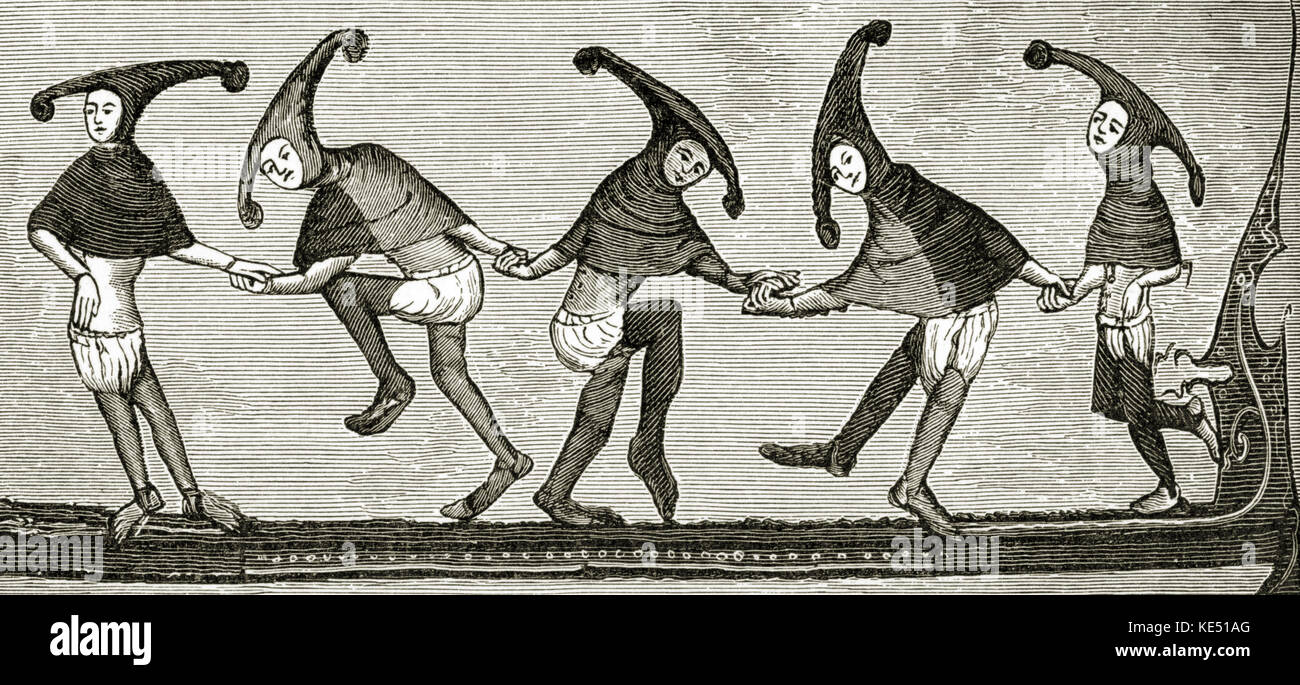Dancers performing the Morris Dance - c. 1338-1344. Minstrel hats.