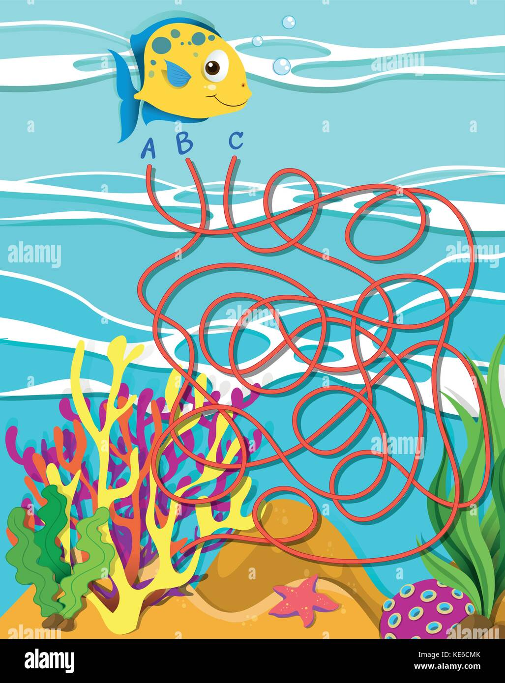 game template with fish and coral reef illustration stock vector art