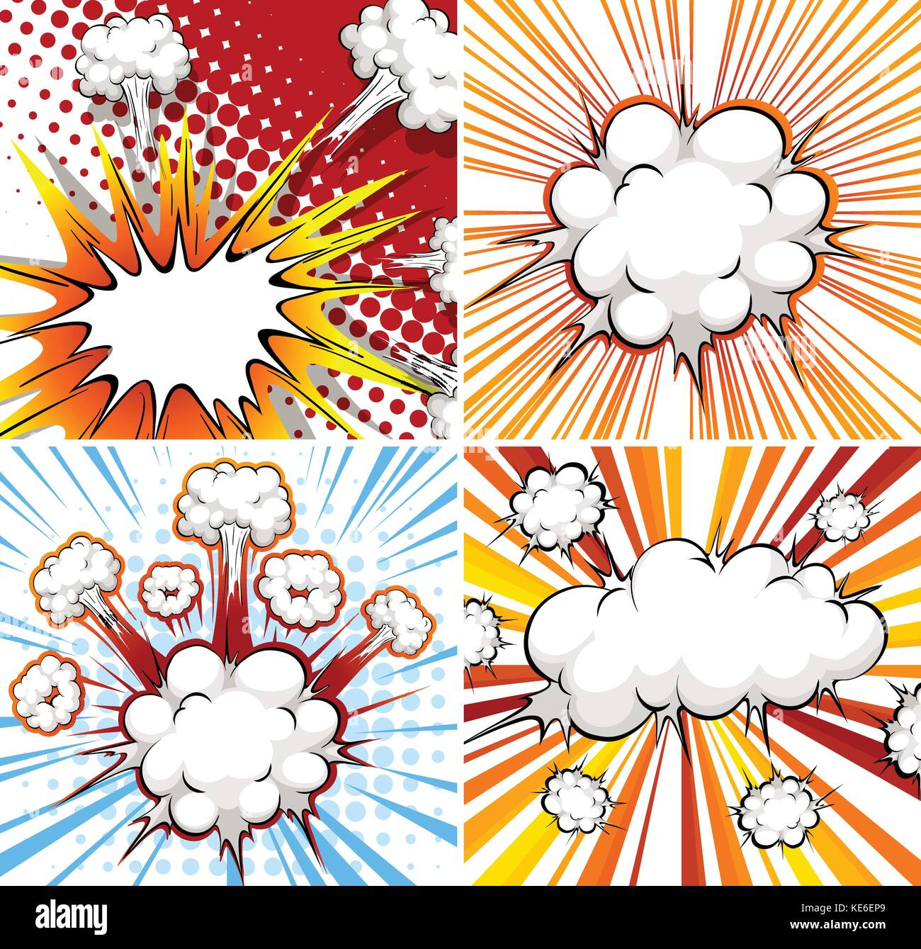 Explosion template in four different designs Stock Vector Art ...