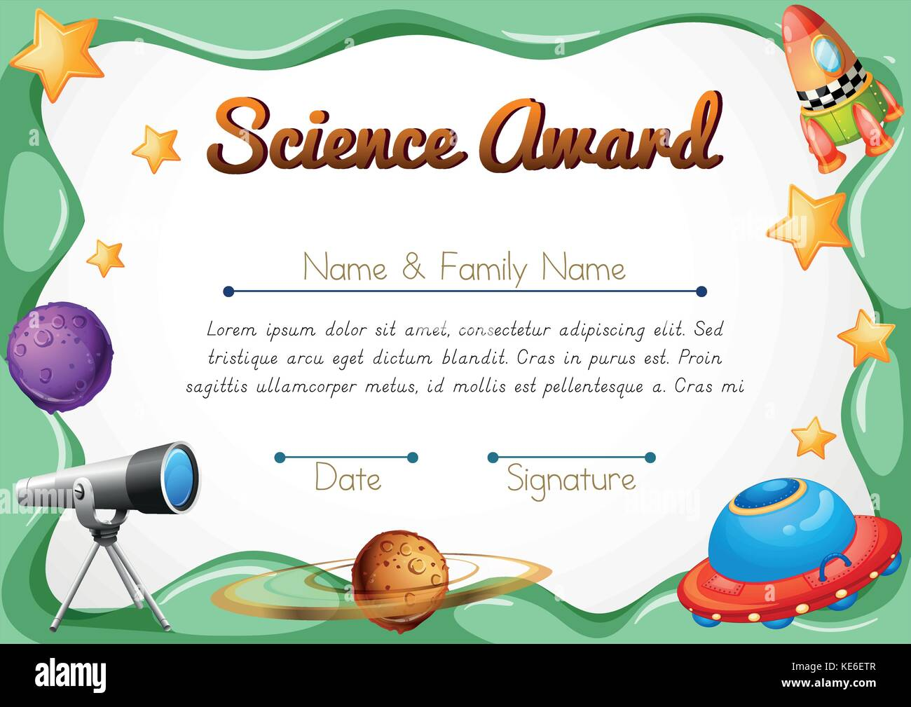 Certification template for science award illustration stock vector certification template for science award illustration alramifo Images