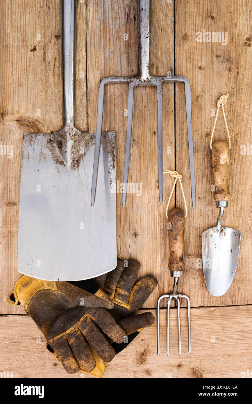 Garden Tools Aerial View. Stainless Steel Gardening Equipment.   Stock Image