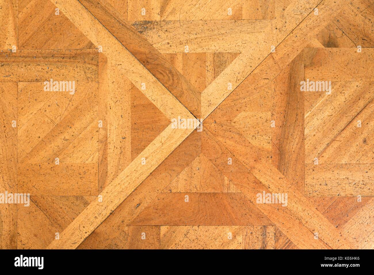 Worn Down Wooden Planks ~ Parquet flooring hall stock photos