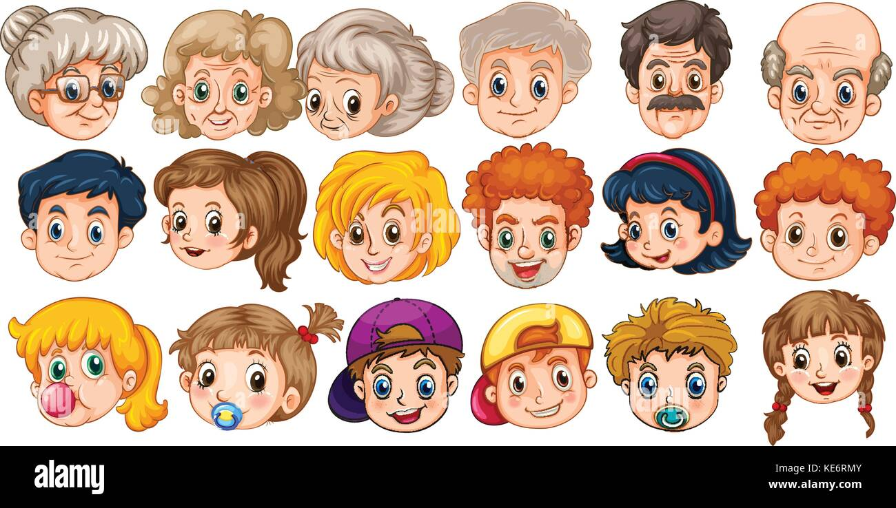 many faces of people in different ages stock vector art
