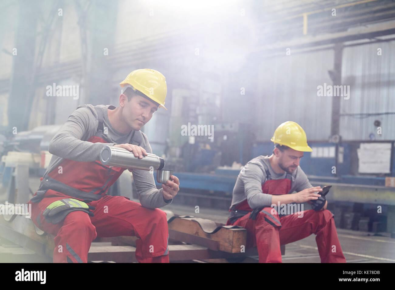 Take Break Coffeebreak : Factory workers taking coffee break stock photo alamy