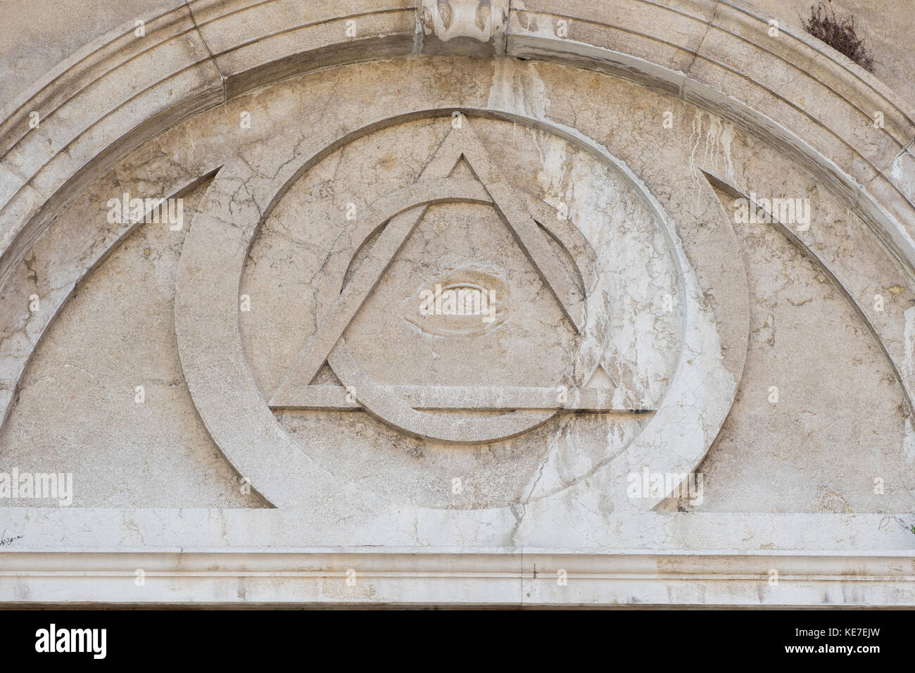 Masonic symbol of eye and pyramid stock photos masonic symbol of eye in the pyramid the bas relief on the wall of the church biocorpaavc
