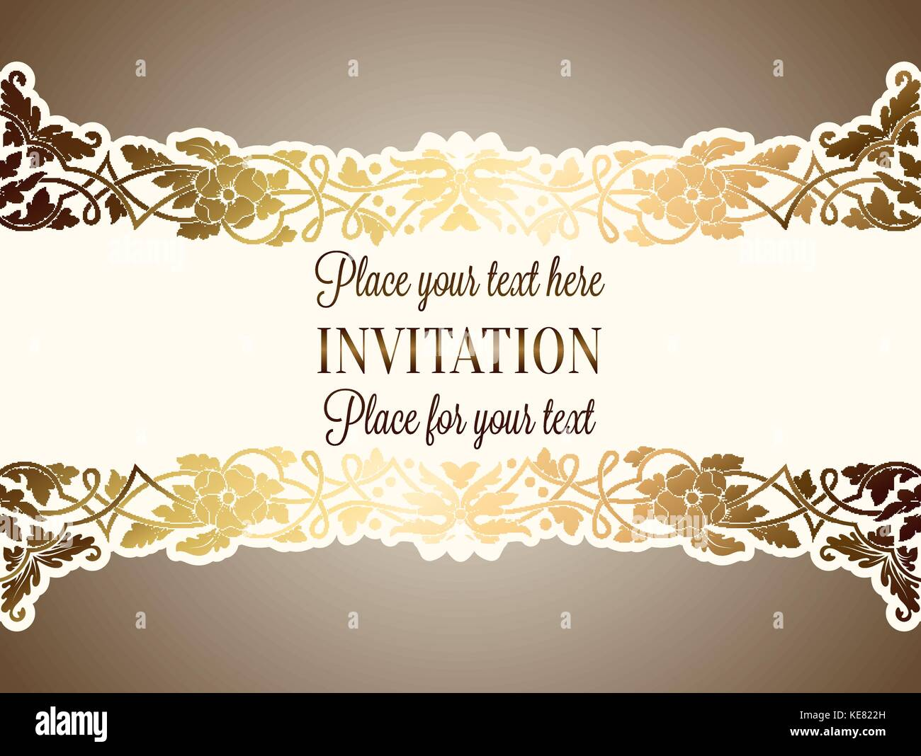 Intricate baroque luxury wedding invitation card rich gold decor on intricate baroque luxury wedding invitation card rich gold decor on beige background with frame and place for text lacy foliage with shiny gradient stopboris Gallery