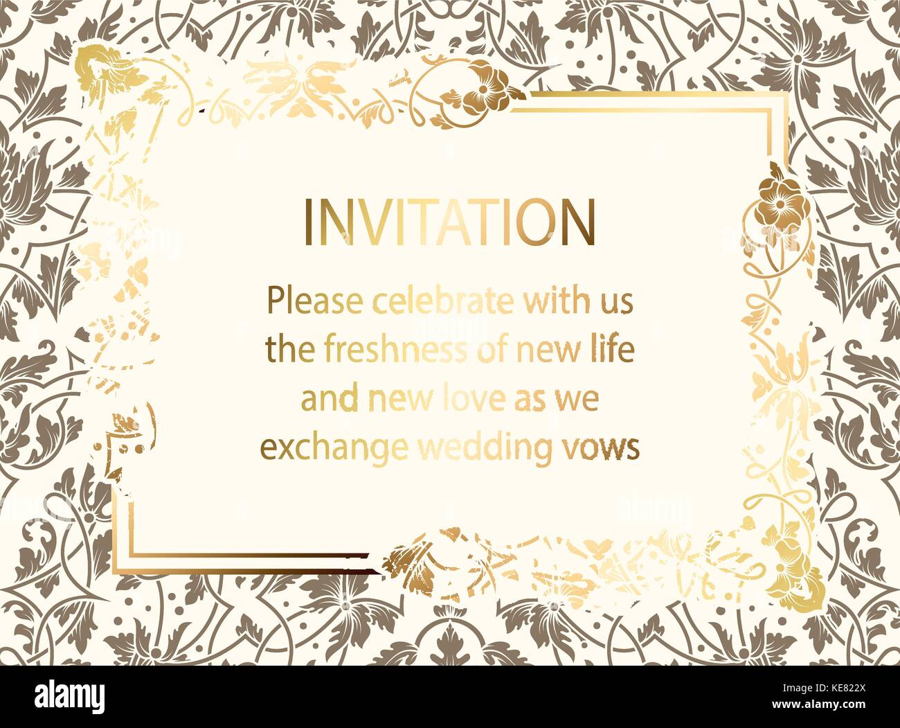 Intricate baroque luxury wedding invitation card rich gold decor intricate baroque luxury wedding invitation card rich gold decor on beige background with frame and monicamarmolfo Gallery
