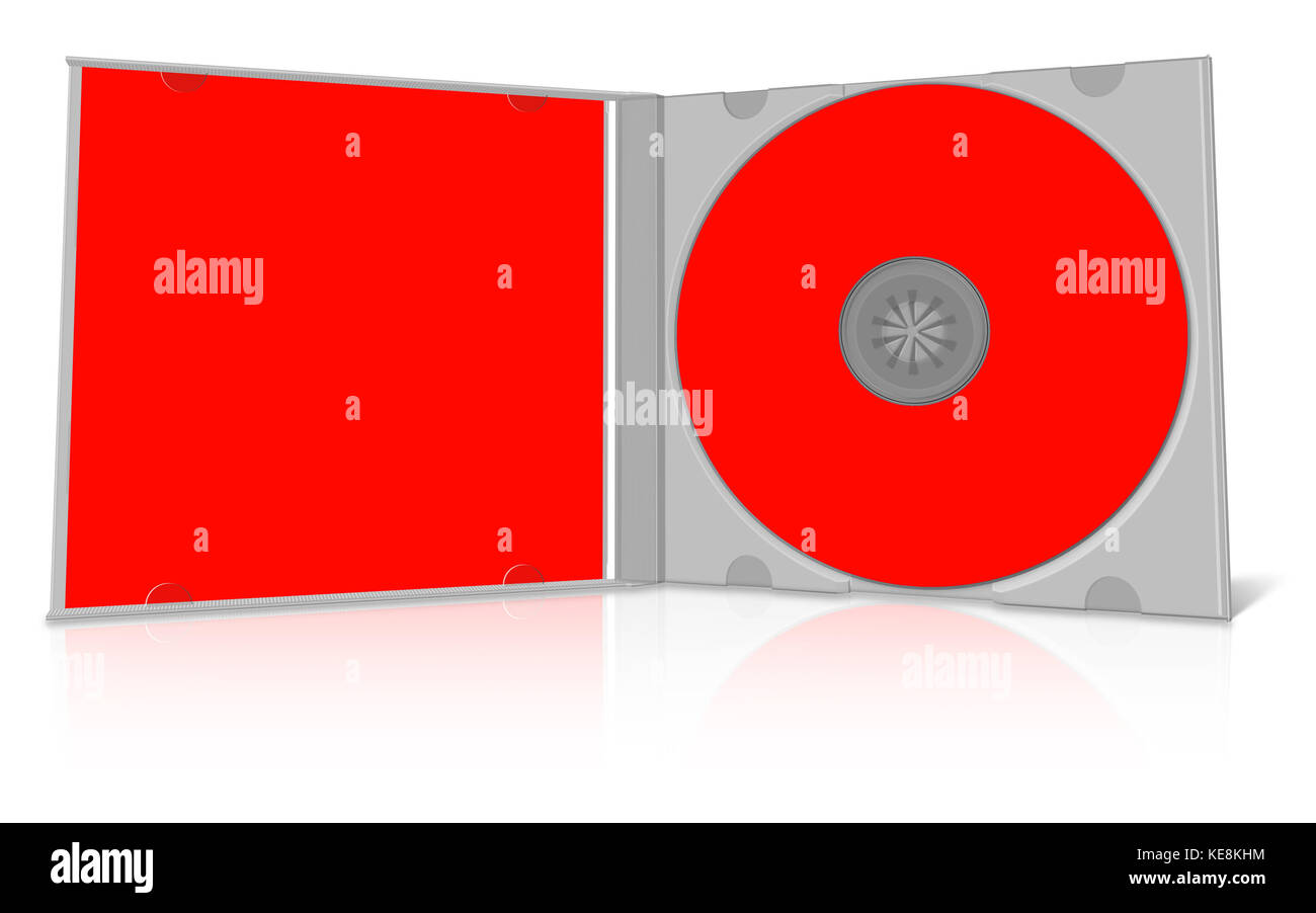 red blank cd case and disc put your own design on it stock photo