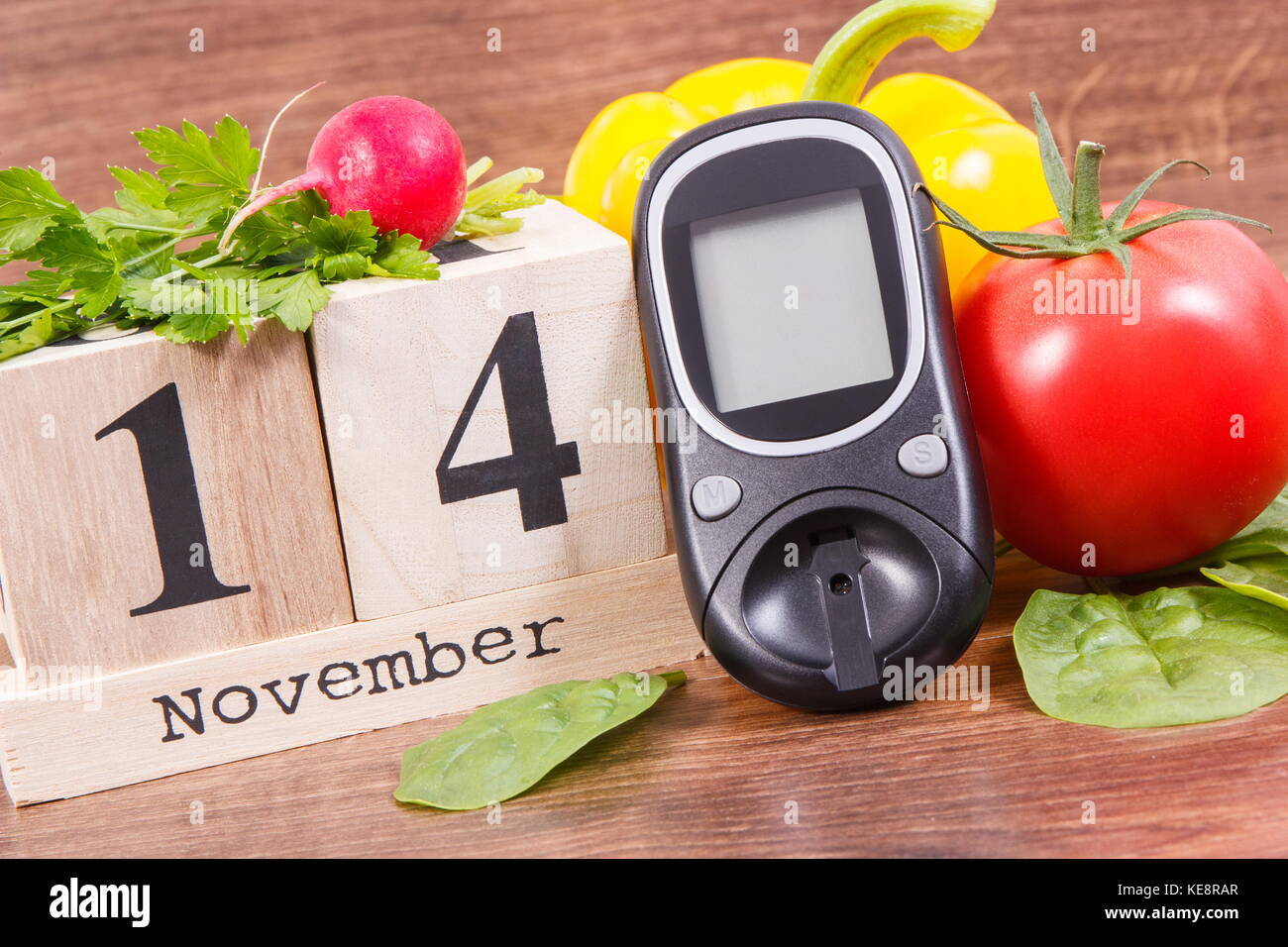 Date 14 November As Symbol Of World Diabetes Day Glucometer For