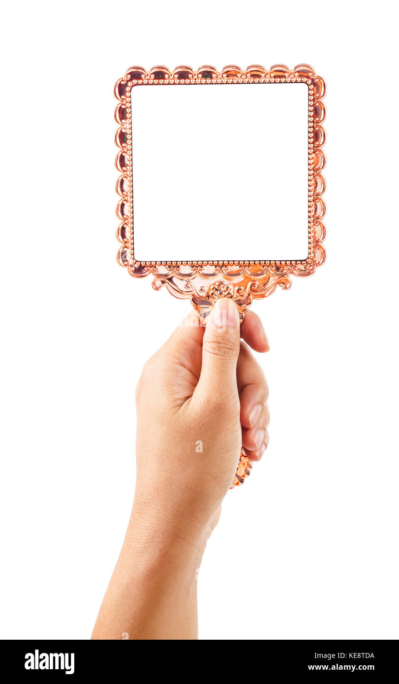 Ordinaire Beautiful Vintage Mirror For Makeup In Woman Hand Isolated On White  Background, Save Clipping Path.