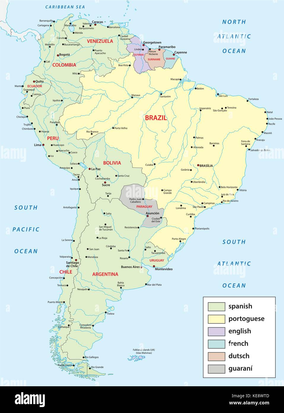 Languages Vector Map Of South America Stock Image
