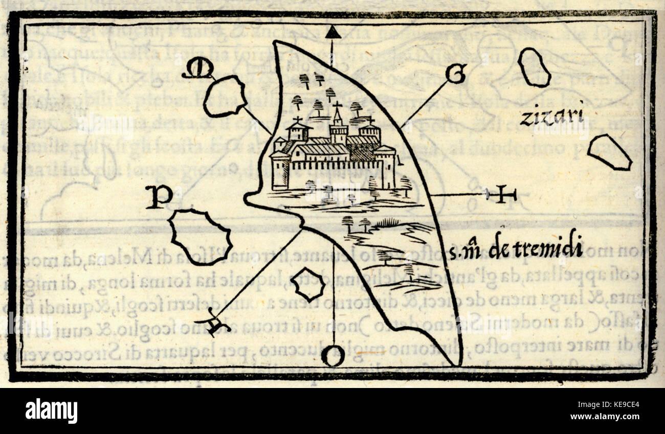 Map of San Nicola island part of Tremiti islands Bordone Benedetto