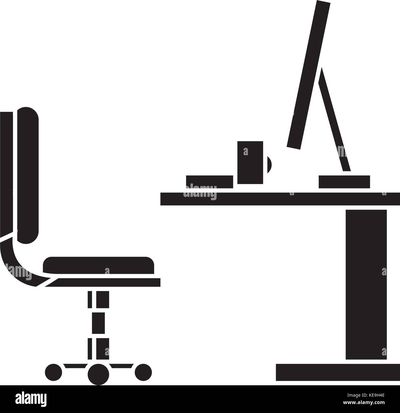 Table Office Desk With Computer Sideview Icon Vector Illustration Sign On Isolated Background