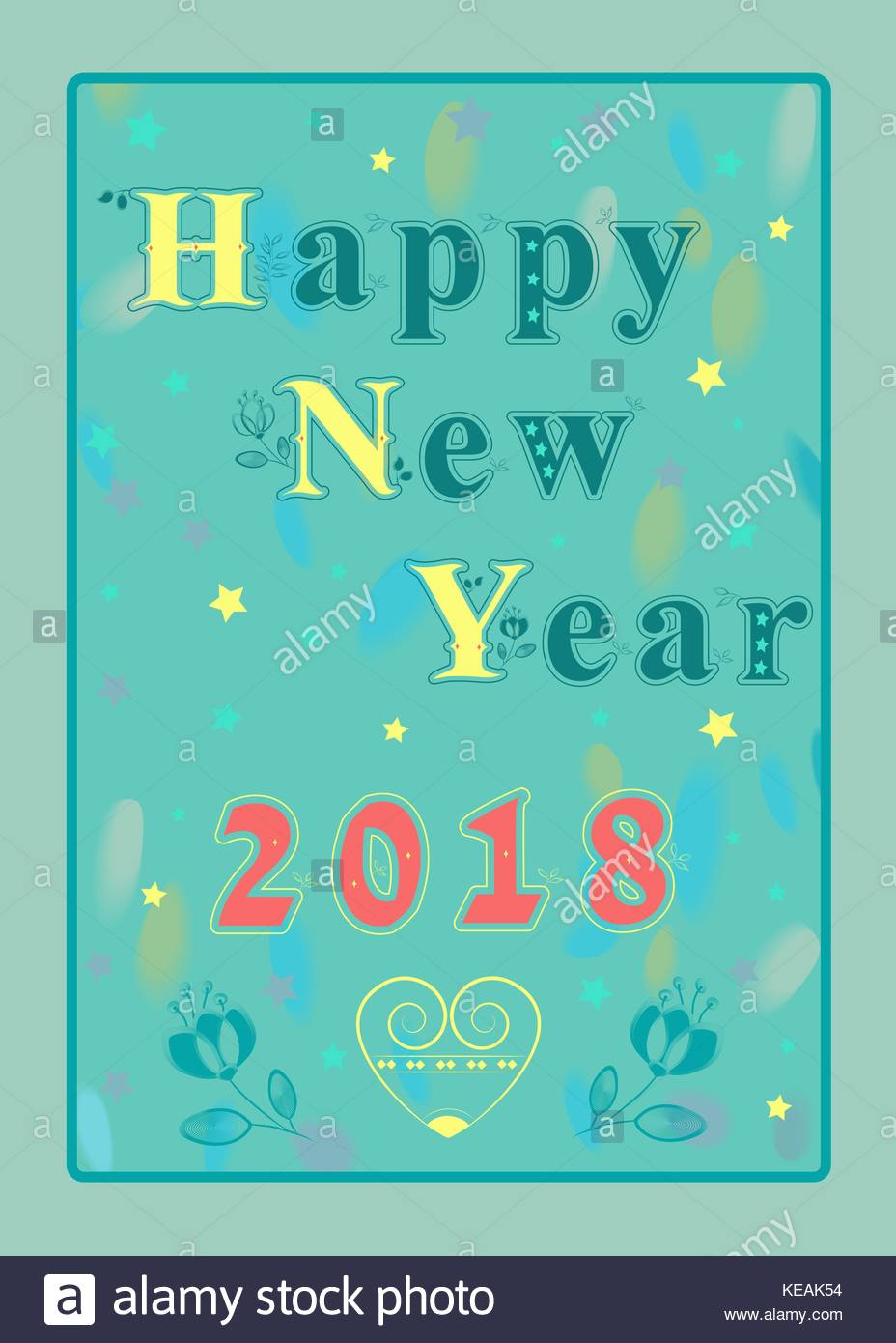 happy new year 2018 artistic graceful floral font watercolor background and vintage yellow heart vector illustration