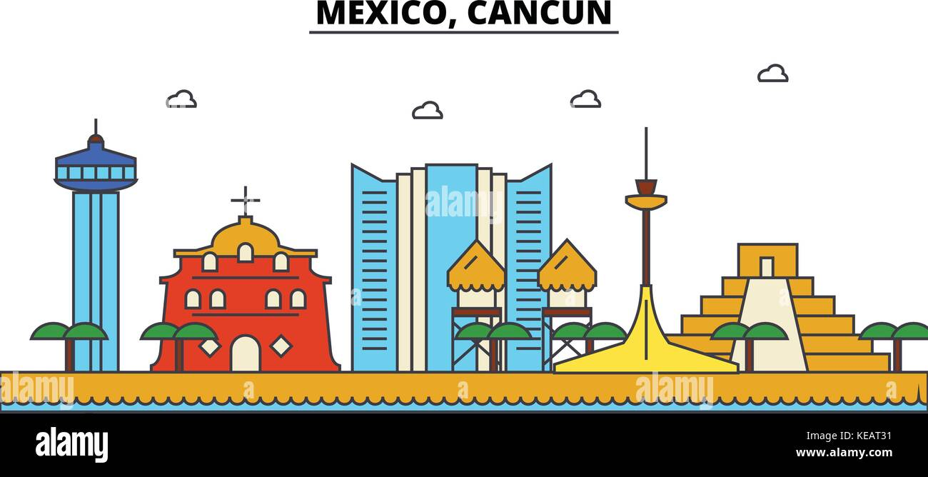 Mexico Cancun City Skyline Architecture Buildings Streets Stock