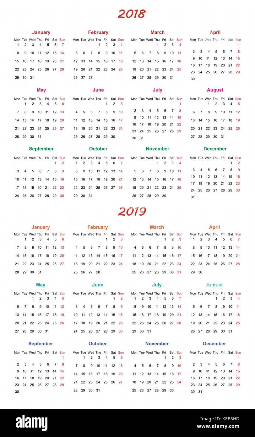 12 Months Calendar Design 2018 2019 Printable And Editable Stock