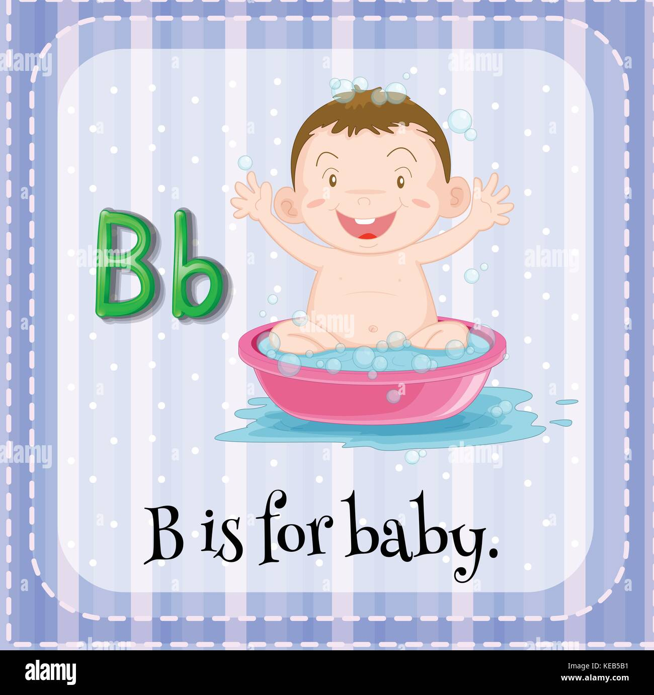 Letter B flashcard with a picture of a baby in bath tub Stock Vector ...