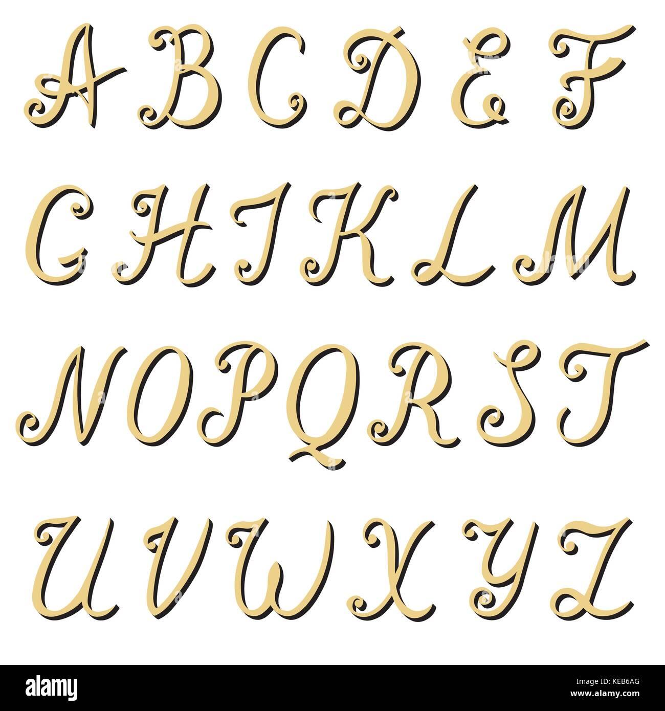 Hand written alphabet vector stock photos