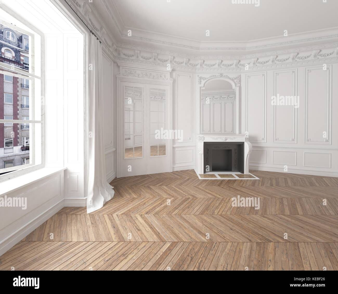 Empty Room: Empty Room Interior Classic Wainscoting Stock Photos