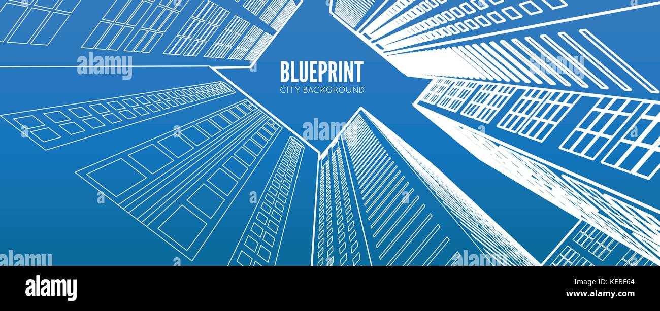 building wireframe 3d render city vector blueprint illustration