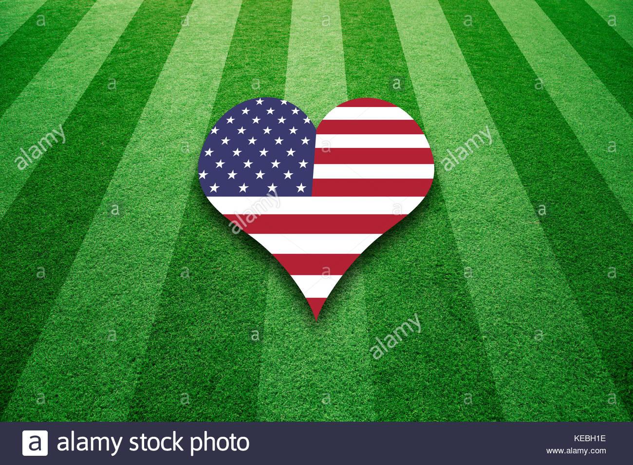 Sunny american football artificial green grass field with united sunny american football artificial green grass field with united states flag colors love heart symbol background biocorpaavc
