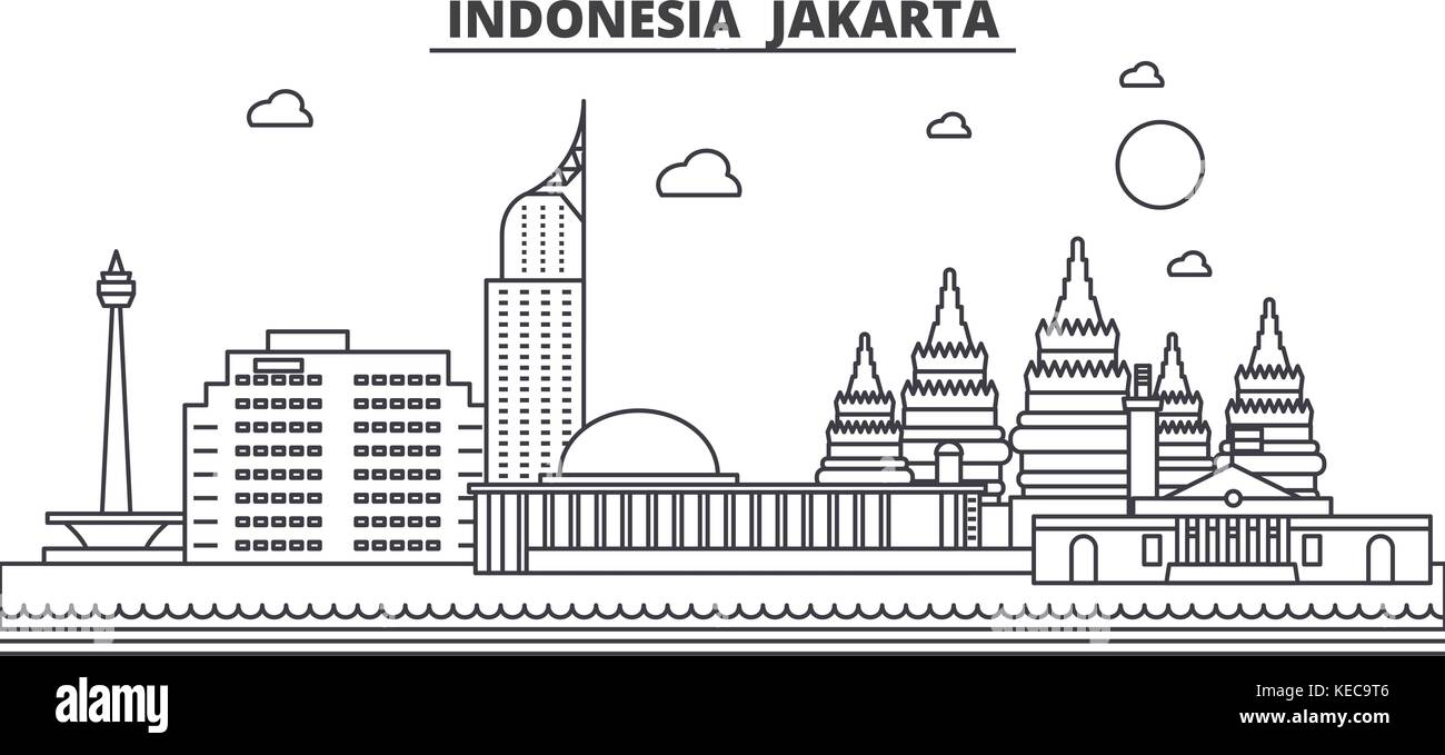 Indonesia Jakarta Architecture Line Skyline Illustration Linear Vector Cityscape With Famous Landmarks City