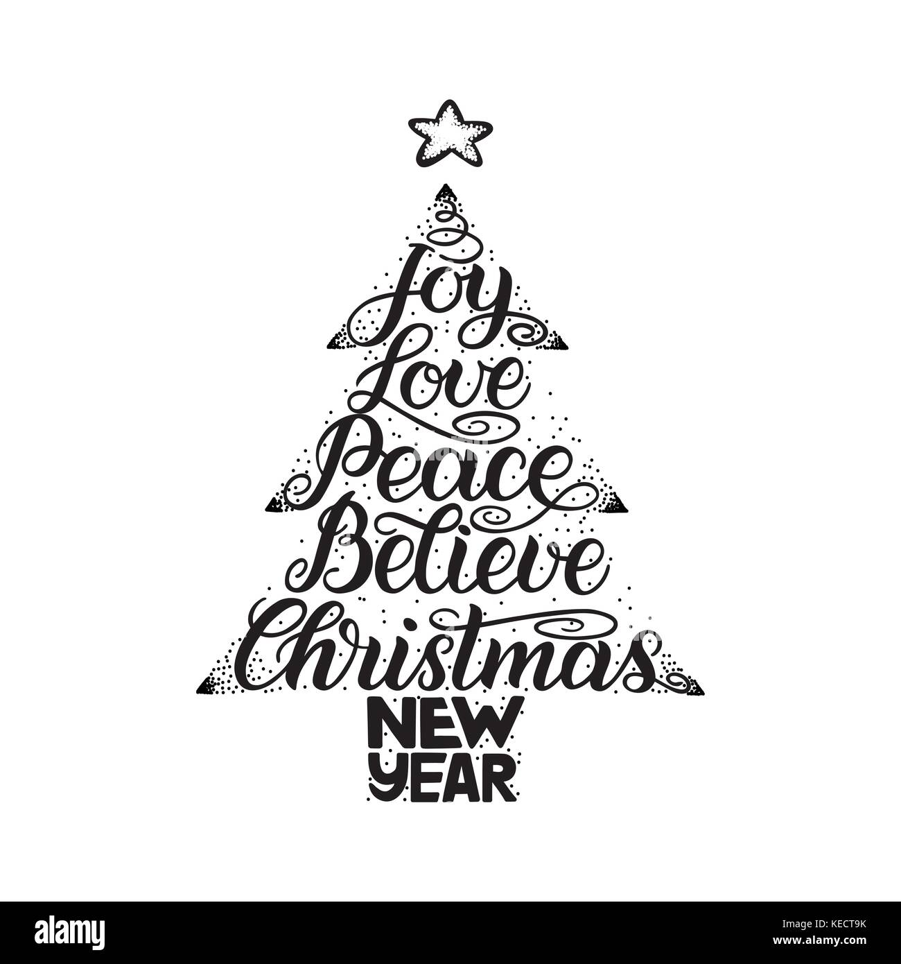 calligraphy lettering in christmas tree form with star. Black Bedroom Furniture Sets. Home Design Ideas