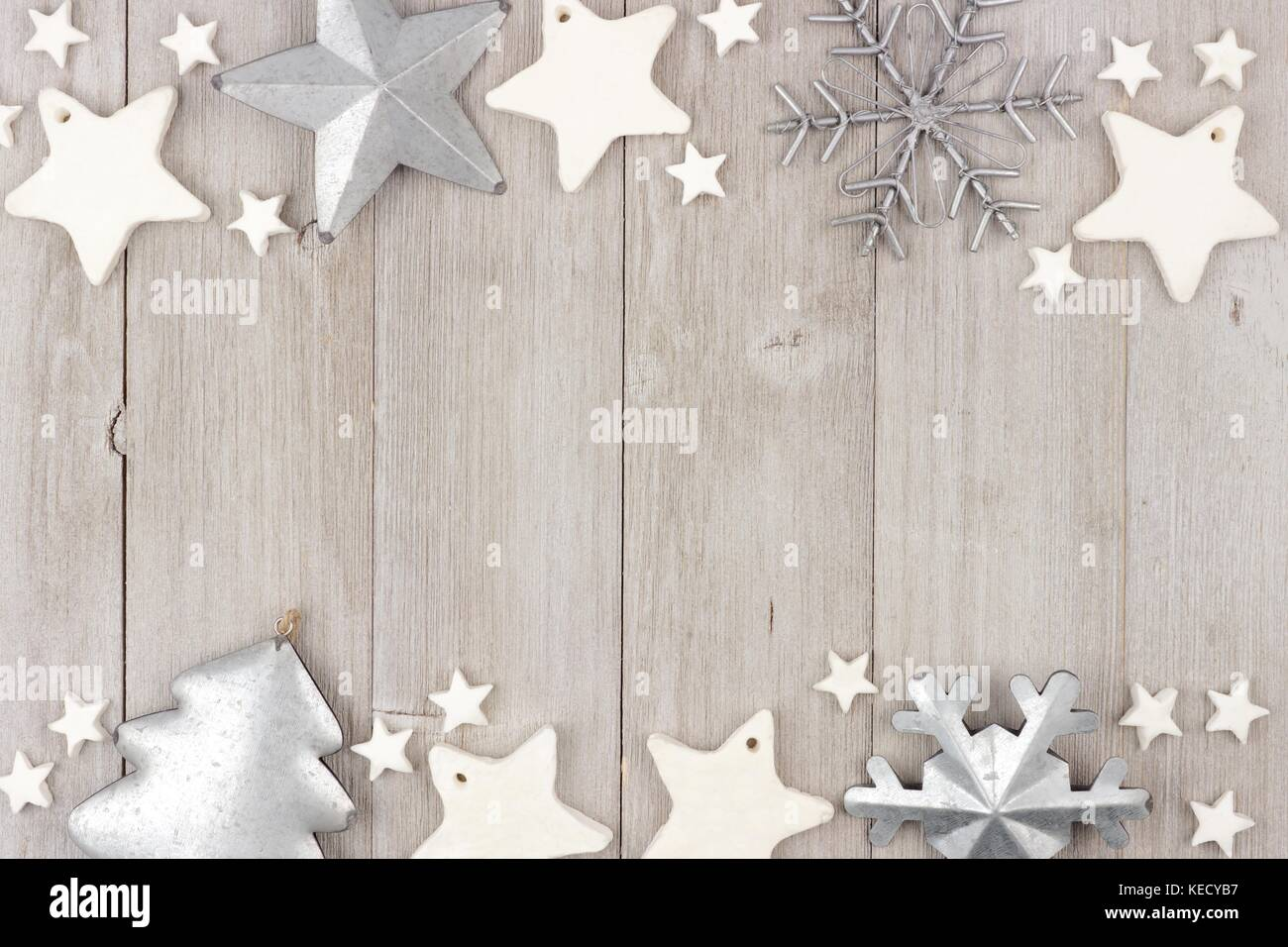 Christmas Double Border With Shabby Chic Handmade Clay And Metal Ornaments On A Rustic Wood Background