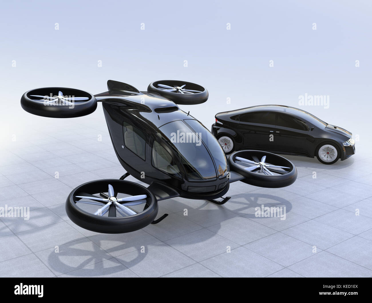 Self Driving Car And Passenger Drone Parking On The Ground 3D Rendering Image