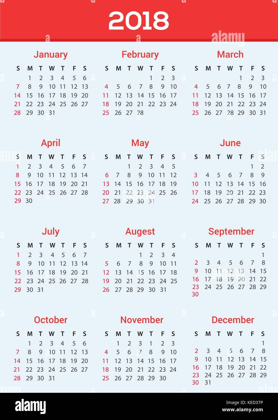 Calendar Design Template 2018 Stock Vector Art Illustration
