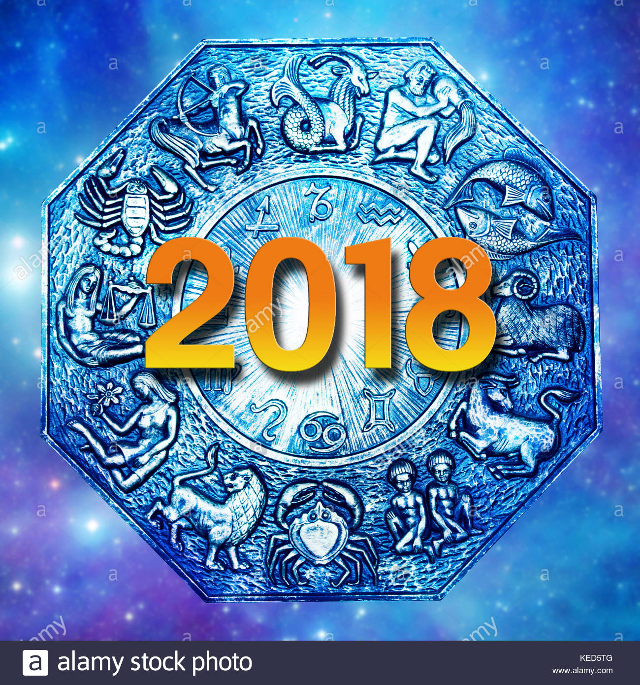 astrology plate with all zodiac signs and 2018, new year concept ...