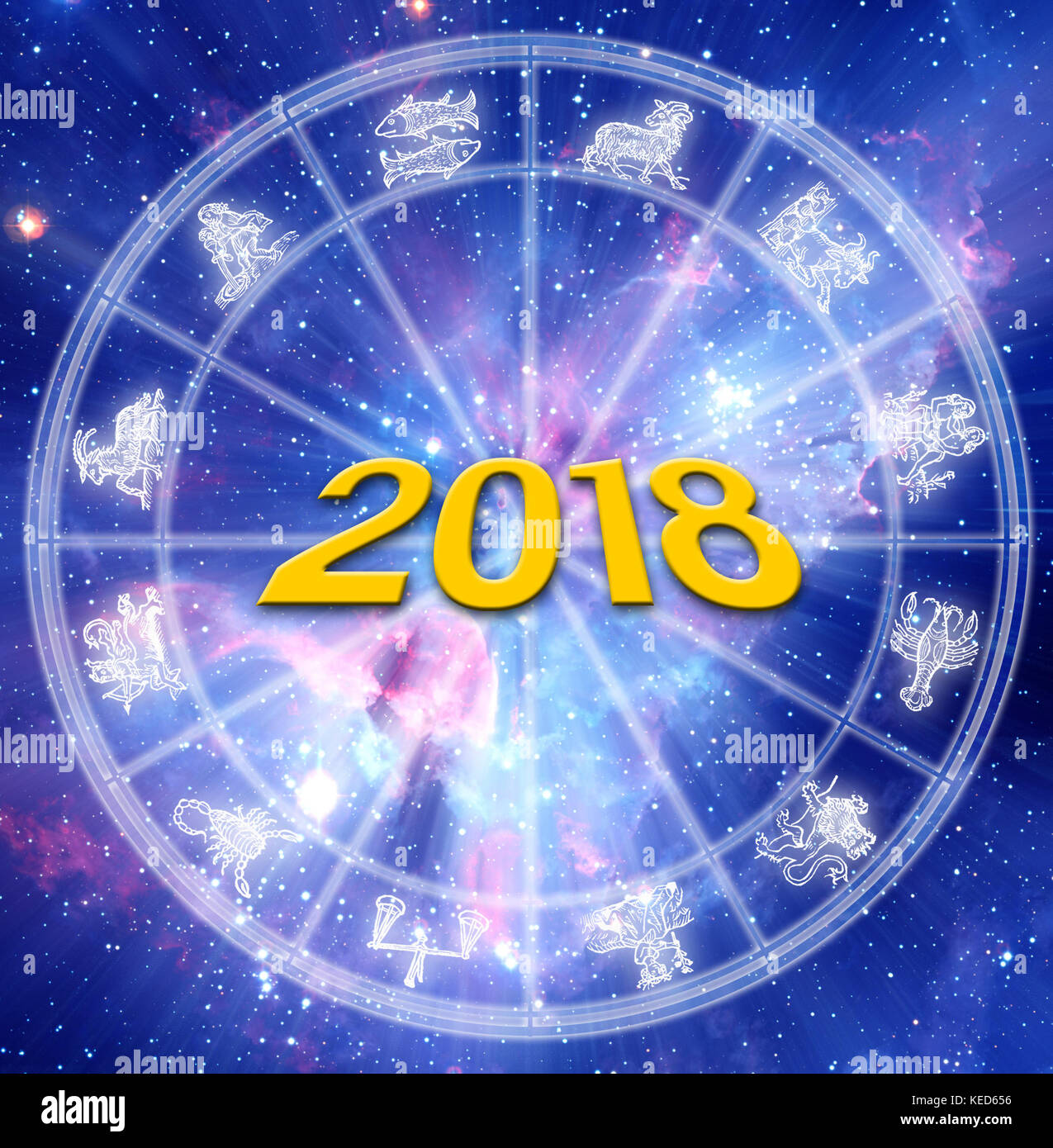 astrology chart with zodiac signs and 2018 new year concept Stock ...