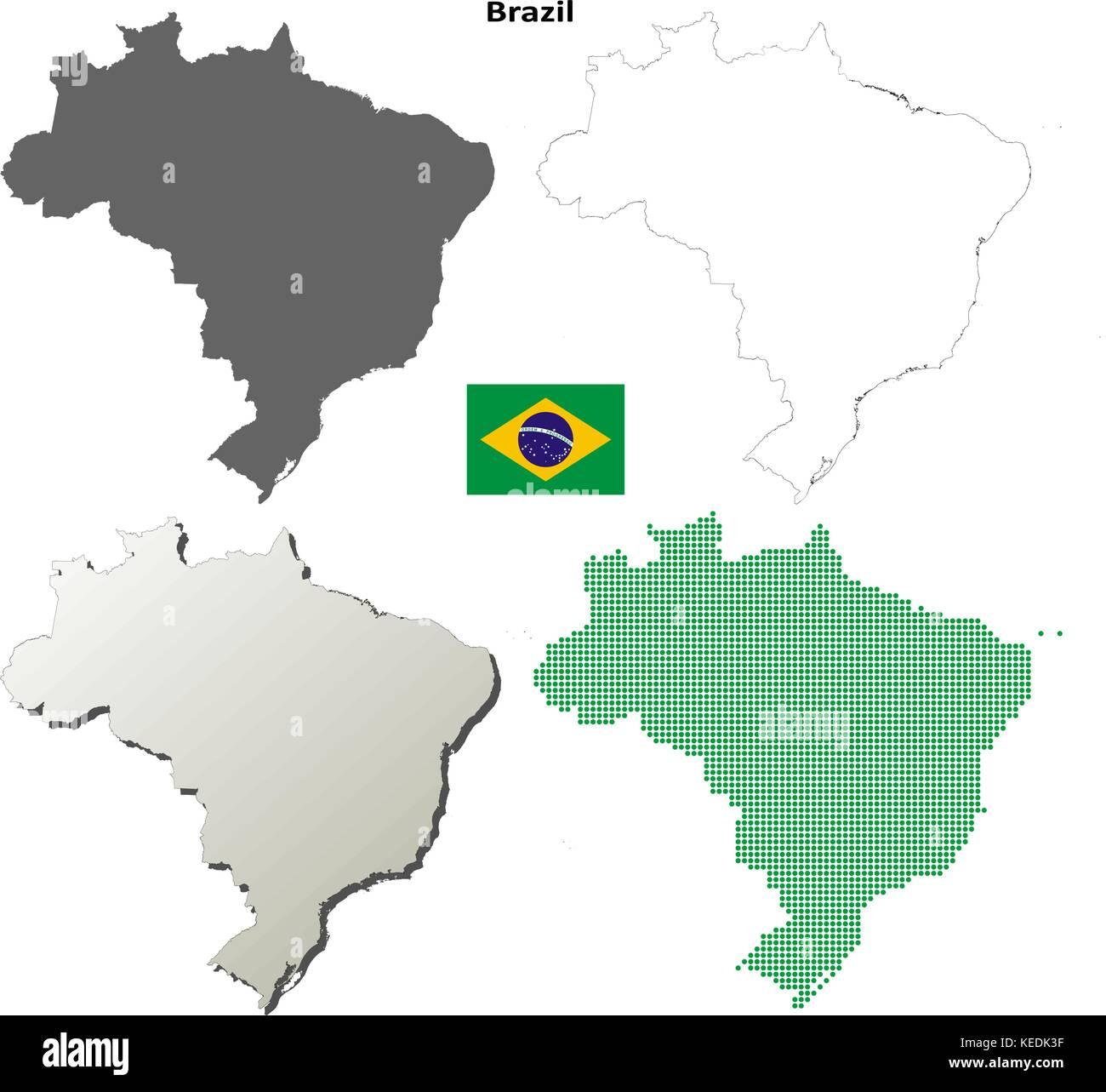 Brazil Outline Map Set Stock Vector Art Illustration Vector Image
