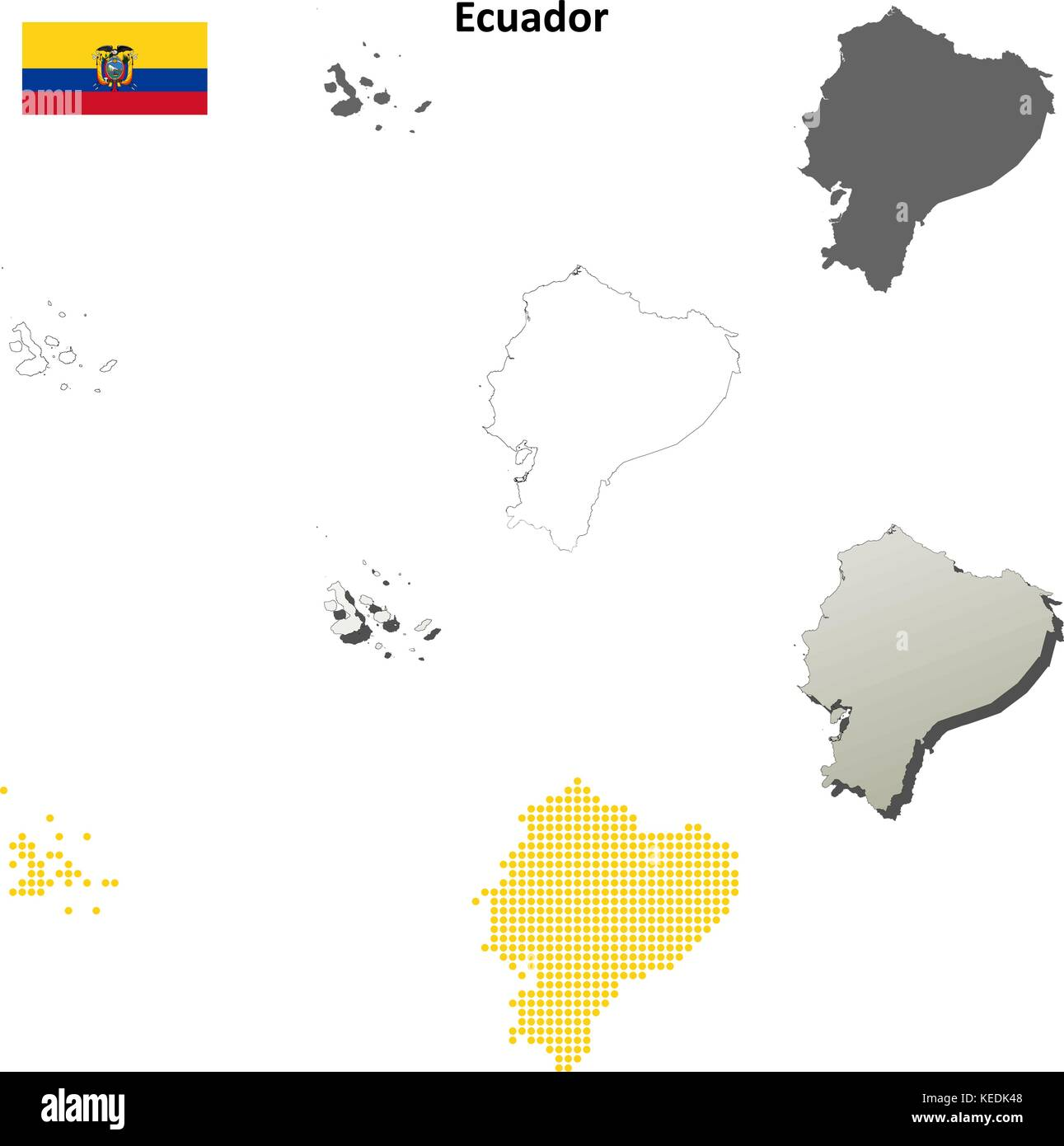 Ecuador Map Stock Photos Ecuador Map Stock Images Alamy - Colored outline map of ecuador