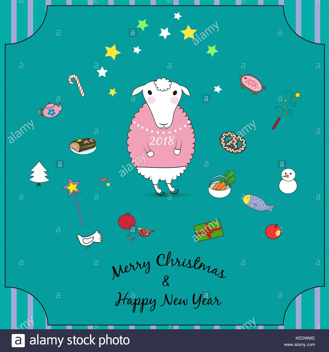 christmas sheep with sweets and gifts white animal with skates and pink sweater happy new year 2018 merry christmas green background and striped f