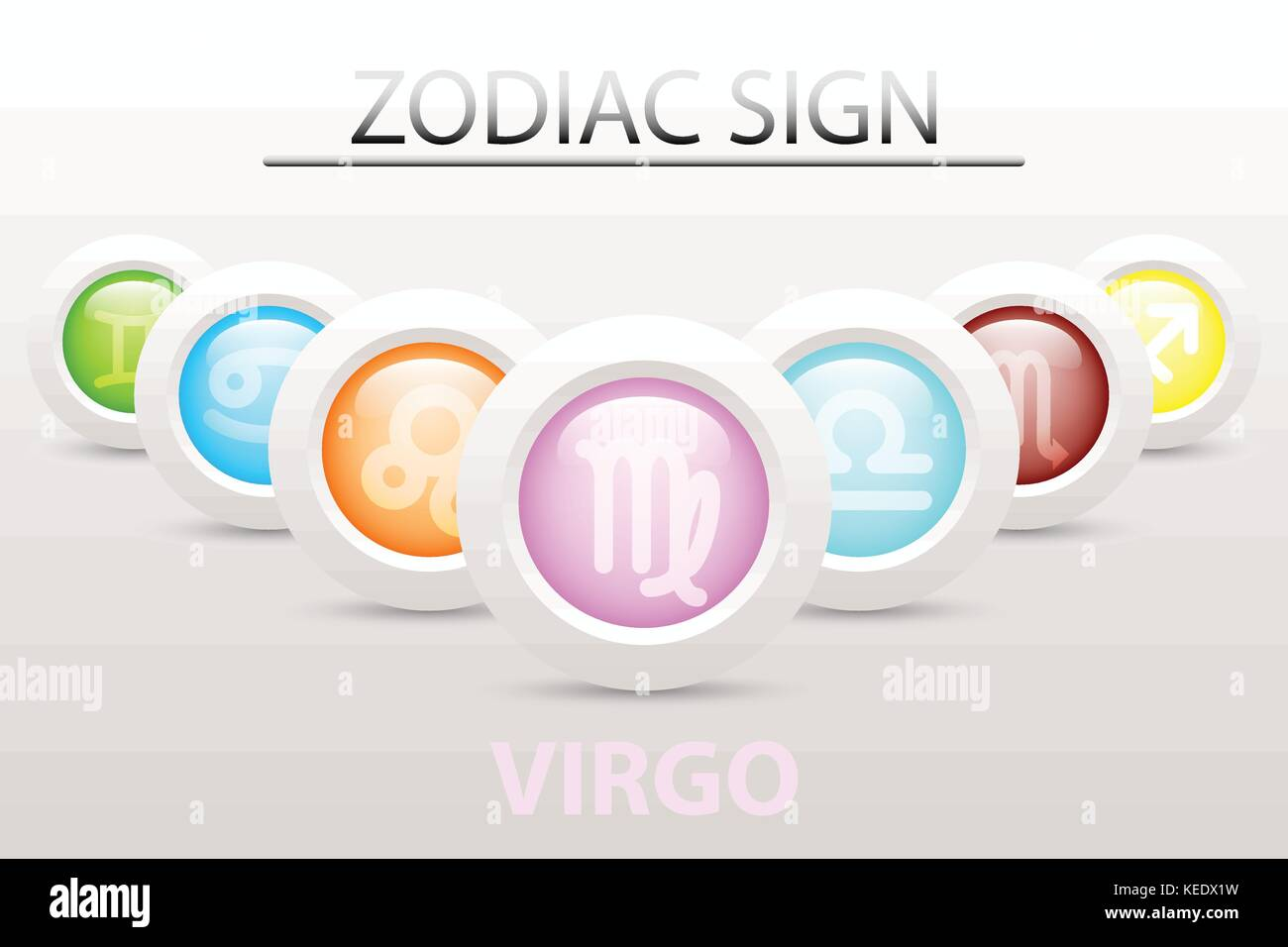 Virgo design stock photos virgo design stock images alamy horoscope astrology zodiac sign symbol of virgo on sequence with 3d simple white button paper and buycottarizona Gallery