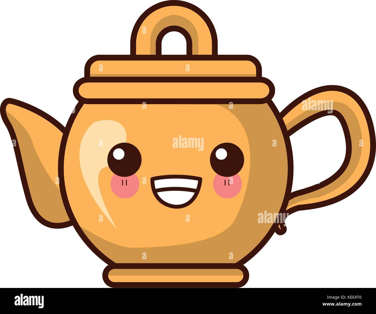 Porcelain Teapot Utensil Kawaii Cute Cartoon Stock Vector Art