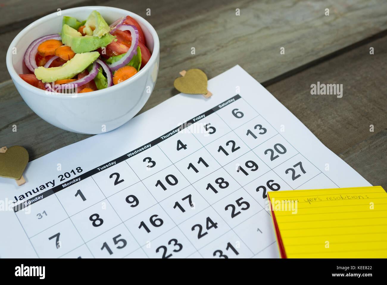diet food calendar