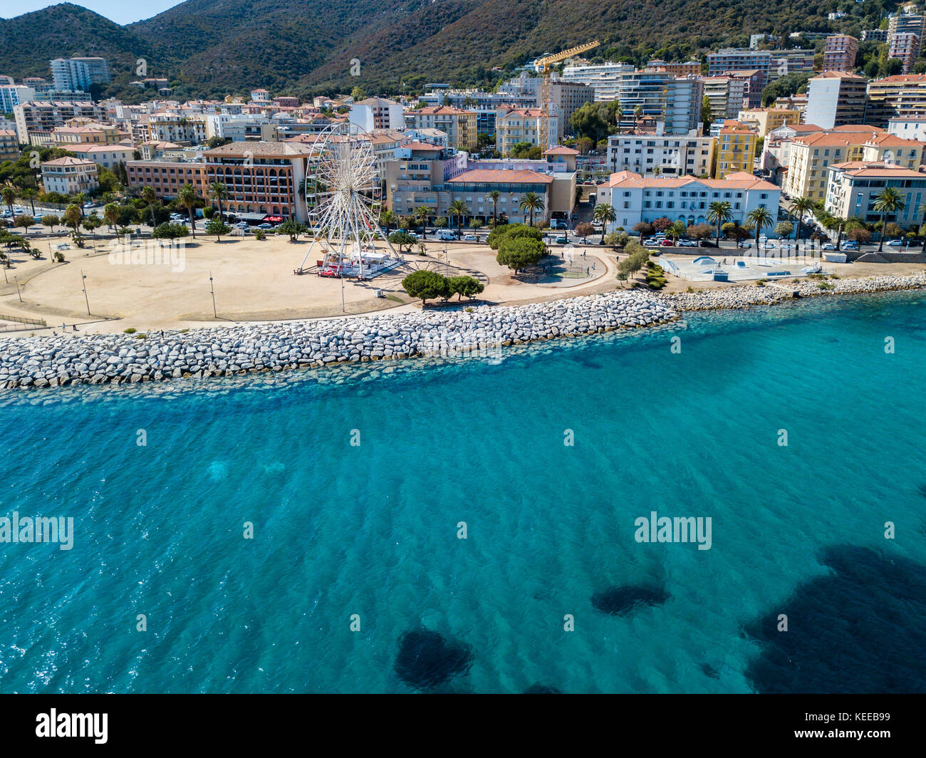Aerial view of Ajaccio Corsica France Ferris wheel and playground