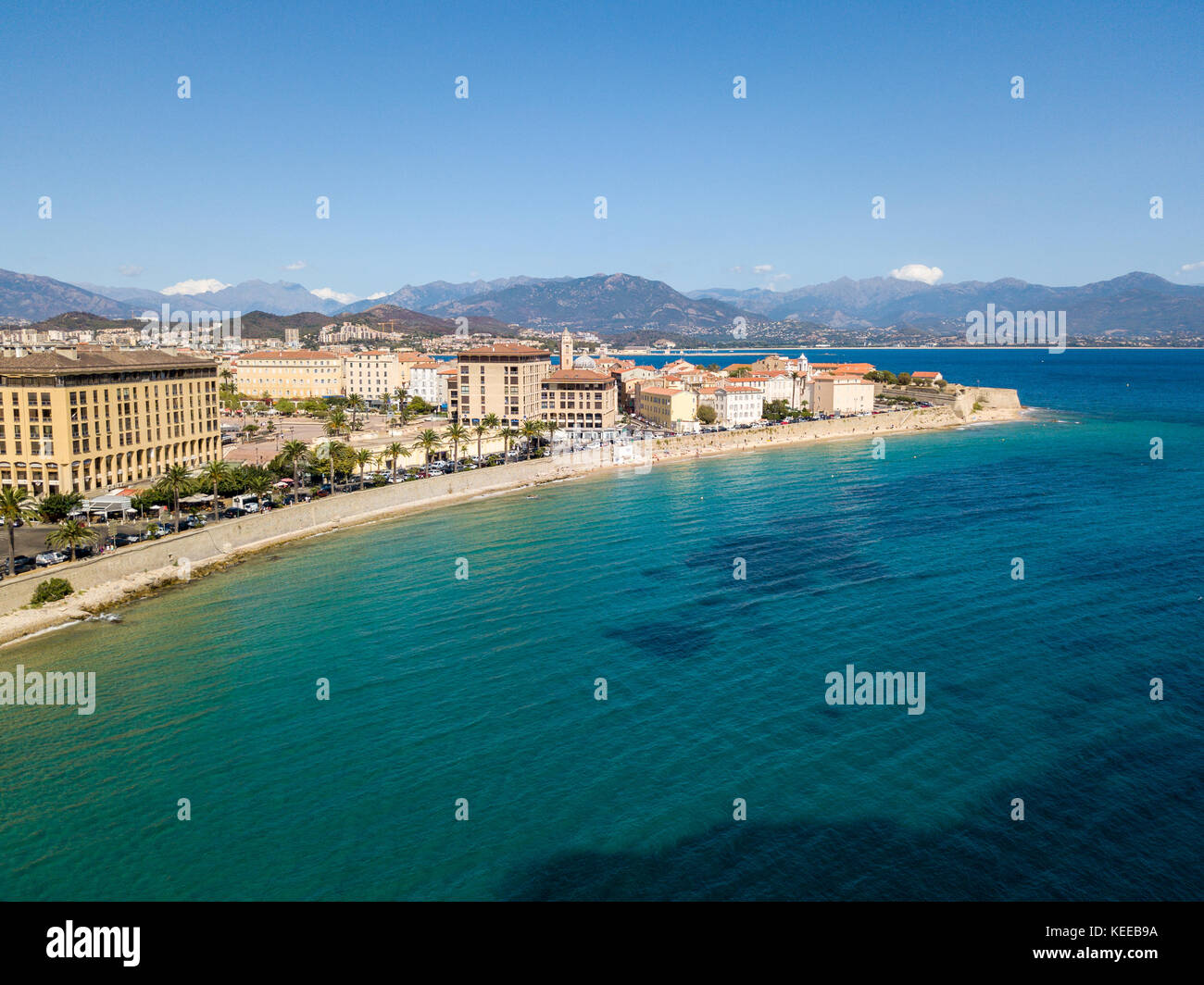 Aerial view of Ajaccio Corsica France City center seen from the