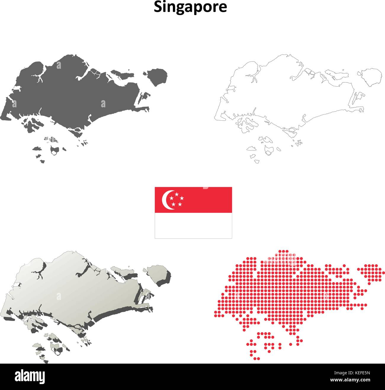 Singapore Outline Map Set Stock Vector Art Illustration Vector - Singapore map vector