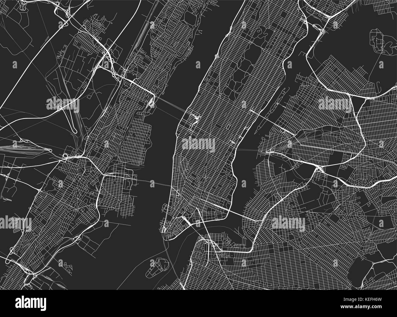 Vector background with all streets of New York and surroundings map